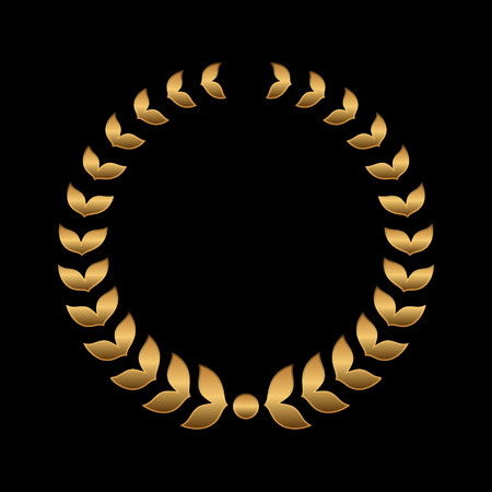 actress: Vector gold award wreaths, laurel on black background. Vector illustration