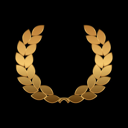 Vector gold award wreaths, laurel on black background. Vector illustration