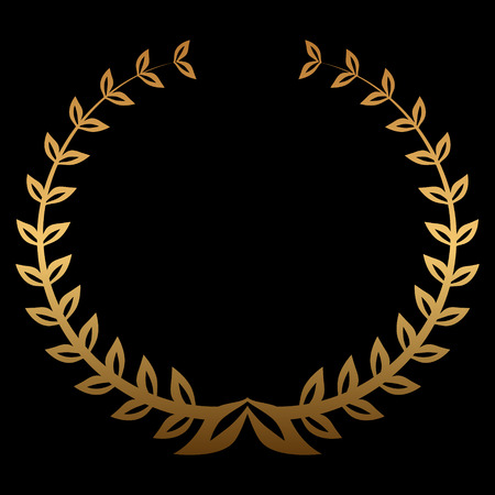 famous actress: Vector gold award wreaths, laurel on black background. Vector illustration