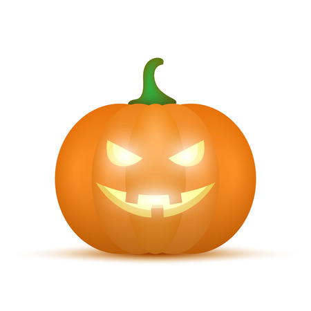 Cartoon halloween pumpkin. Pumpkin with sinister smiling face isolated on white background. Vector illustration
