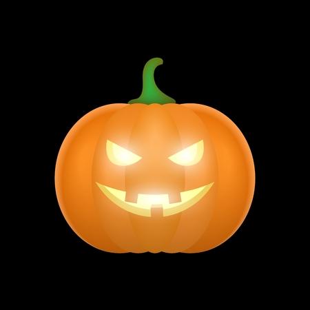 green lantern: Cartoon halloween pumpkin. Pumpkin with sinister smiling face isolated on black background. Vector illustration Illustration