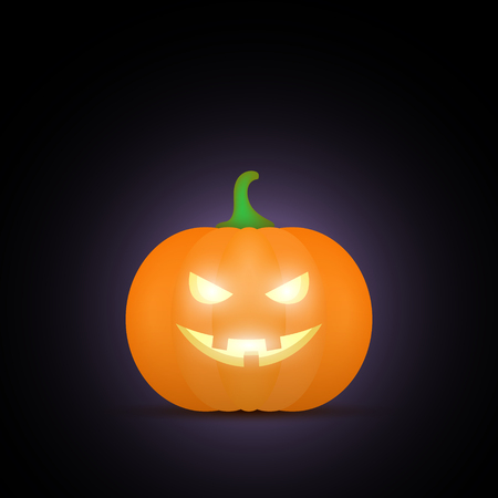 terrible: Cartoon halloween pumpkin. Pumpkin with sinister smiling face isolated on black background. Vector illustration Illustration