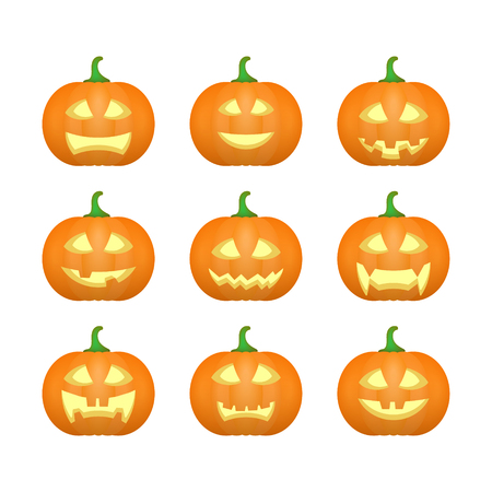 terrible: Halloween carved pumpkins. Carved face emotions set. Vector illustration