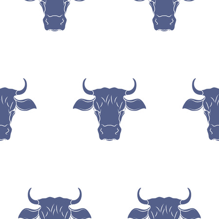 texas longhorn cattle: Abstract Cow Head Seamless Pattern. Vector illustration Illustration