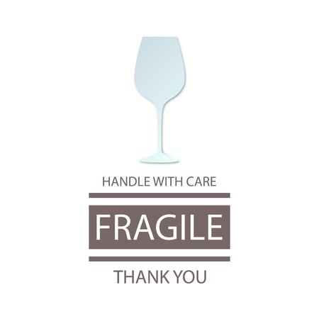 wineglass: Fragile Handle with Care. Wineglass. Vector illustration Illustration