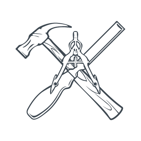 Crossed Hand tools for Carpenrty or Construction Label and Badges. Vector