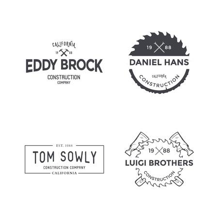Bouwbedrijf Etiket en Badges. Vector Vector Illustratie