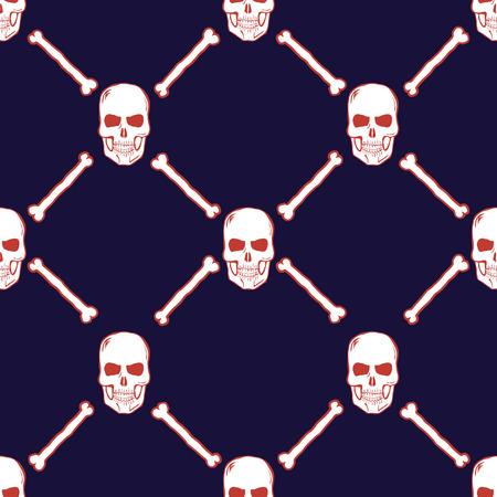 Skulls and Bones Seamless Pattern. Vector illustration