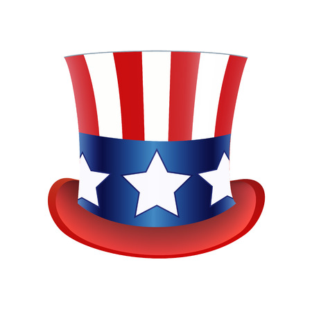 old fashioned: American flag Hat Independence Day. Vector illustration