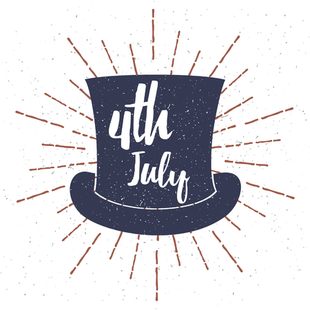 Top Hat with Grunge texture vector illustration and 4th July lettering. Vector illustration