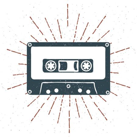 手の描かれた 90 年代オーディオ カセット テープ グランジ テクスチャとヴィンテージのサンバーストをテーマにしたバッジ。ベクトル図
