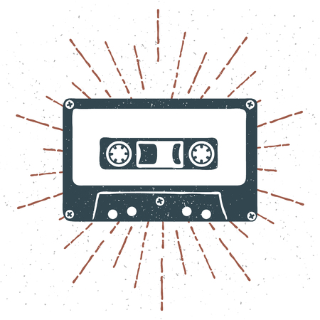 Hand drawn 90s themed badge with audio cassette tape grunge textured and vintage sunburst. Vector illustration