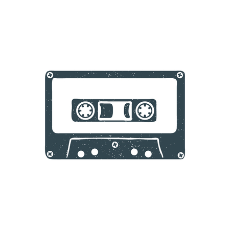 Hand drawn 90s themed badge with audio cassette tape textured. Vector illustration