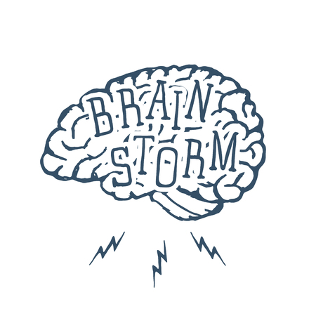 Hand drawn inspirational label with textured brain vector illustration and Brain Storm lettering. Vector illustration Illustration