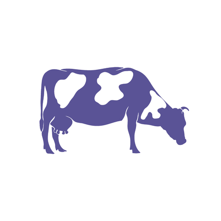 Silhouette de vache dessinés à la main isolé sur fond blanc. Illustration vectorielle Banque d'images - 85649894