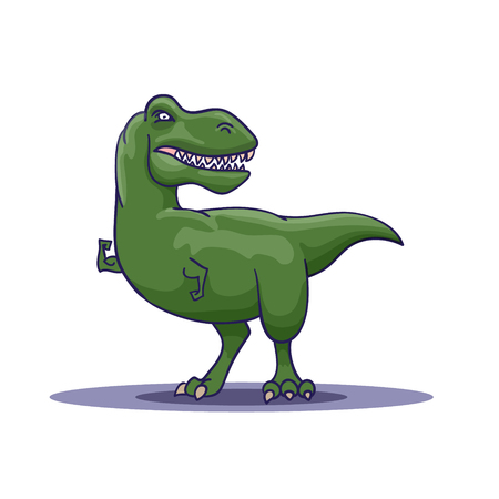Hand Drawn Cartoon Tyrannosaur shows his biceps. Vector illustration Illustration