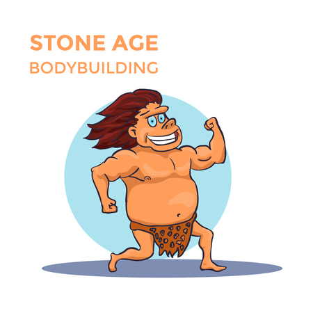 Hand Drawn Cartoon Stone Age Cave Man Shows His Biceps. Vector illustration Illustration