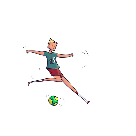 Hand Drawn Cartoon Running Soccer Player with Ball. Vector illustration Stock Illustratie