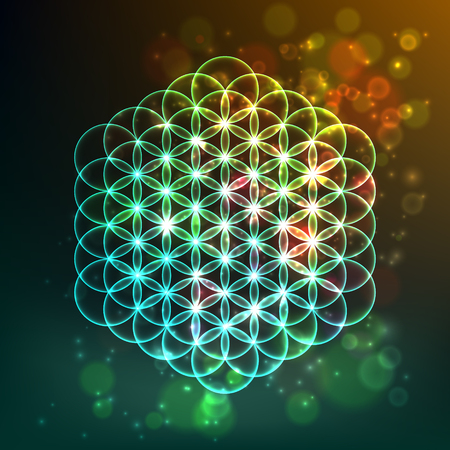 Flower of Life. Sacred Geometry. Symbol of Harmony and Balance. Vector illustration Illustration