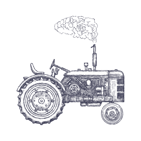 Vintage agricultural tractor icon.