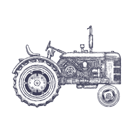 car isolated: Vintage agricultural tractor icon.