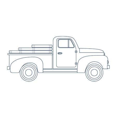 Camioneta pickup retra de la vendimia aislada en el fondo blanco. Ilustración vectorial Ilustración de vector