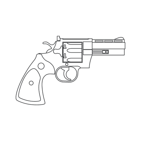 Vintage Revolver Gun. Firearm, pistol. Vector illustration Illustration