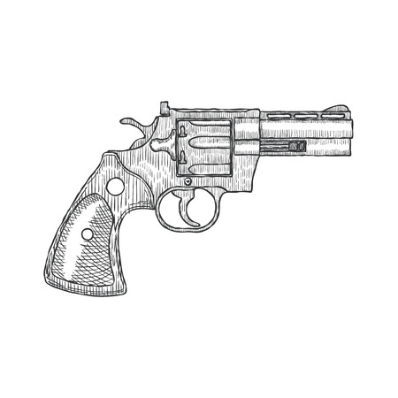 Hand Drawn Vintage Revolver Gun. Firearm, pistol sketch. Vector illustration