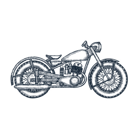garage: Hand Drawn Vintage Motorcycle vector logo design template. bikeshop or motorcycle service icon. Vector illustration