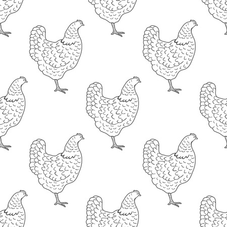 Chicken vintage engraved illustration repetitive pattern background. Ilustração