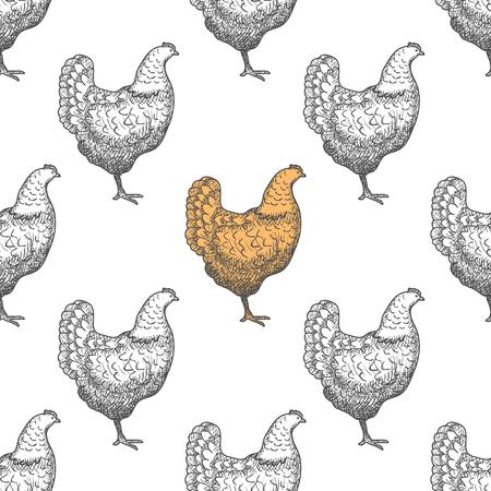 Chicken vintage engraved illustration repetitive pattern background. Illustration