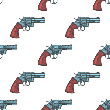 Hand Drawn Vintage Revolver Gun. Seamless Pattern Background Vector illustration
