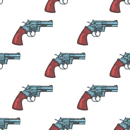 Hand Drawn Vintage Revolver Gun. Seamless Pattern Background Vector illustration