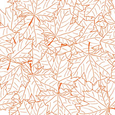 Hand Drawn Maple Leaf Seamless Pattern. Vector illustration