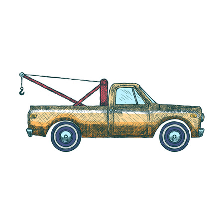 Tow Car Truck. Pickup Truck with Crane. Vector illustration Illustration