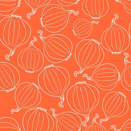 Hand Drawn Onion Seamless Pattern Background. Vector illustration