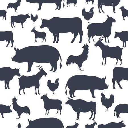 Bauernhof-Tier-Schattenbild-nahtloser Muster-Hintergrund. Vektor-Illustration