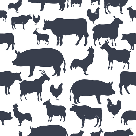 Farm Animals Silhouette Seamless Pattern Background. Vector illustration Stock fotó - 88222166