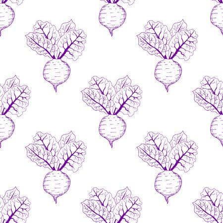 Hand getrokken biet naadloze patroon achtergrond. Vector illustratie Stock Illustratie