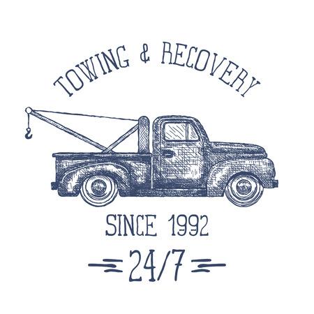 Tow Car Truck. Pickup Truck with Crane. Vector illustration Archivio Fotografico