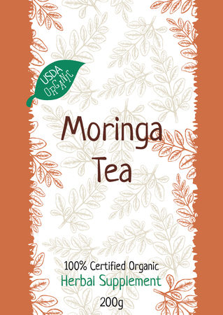 Moringa Tea Package Design Template with Hand Drawn Leaves. Illustration