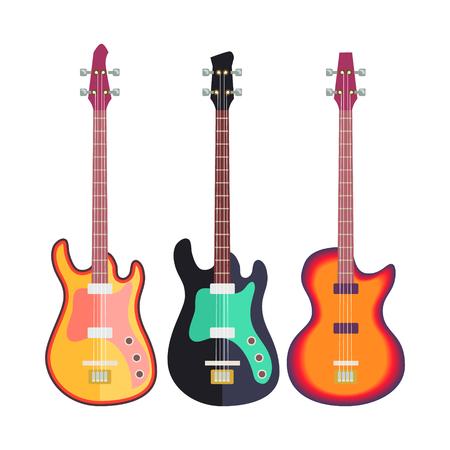 3 電気ギター フラット デザイン白いパターン図に分離されました。  イラスト・ベクター素材