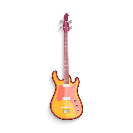 Electro Guitar Flat Design isolated on white illustration.
