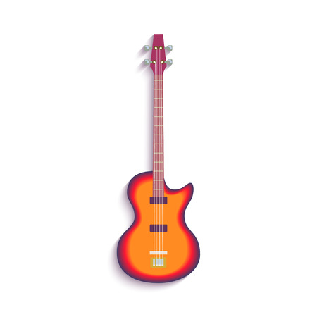 エレクトロギターフラットデザインは、白いイラストに隔離されています。