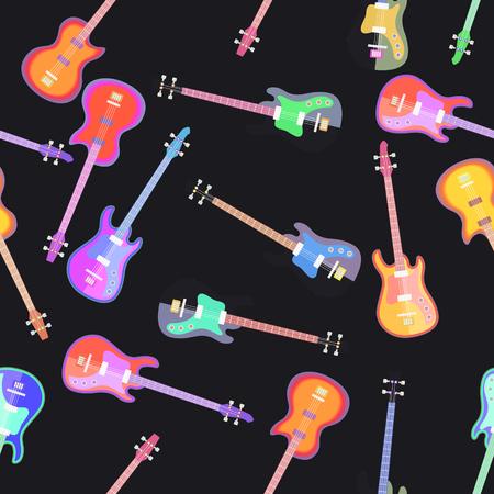 エレクトロギターフラットデザインパターン。