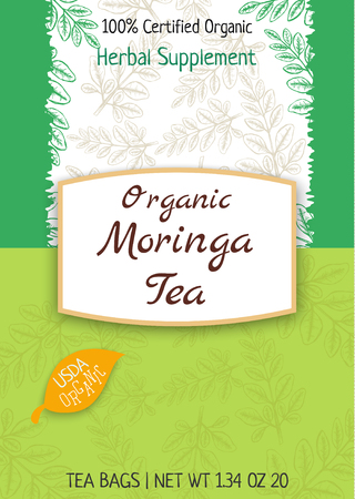 Moringa Tea package design template with hand drawn leaves. Stock Vector - 91776553