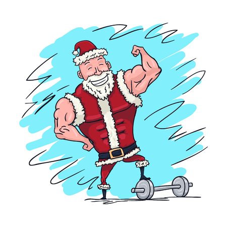Hand Drawn Muscular Santa Claus Showing Biceps Merry Christmas Card. Vector illustration Stock Photo
