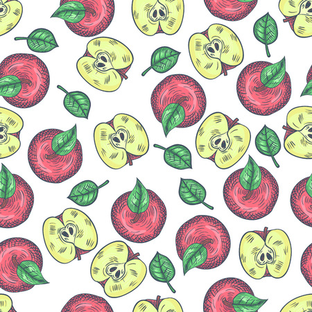 Hand Drawn Apples Sketch Top View Seamless Pattern. Vector illustration