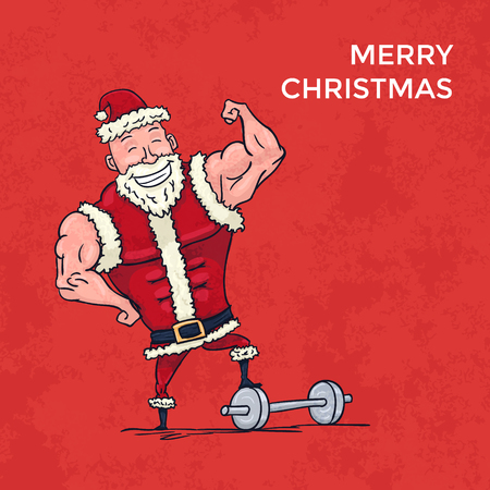 Hand Drawn Muscular Santa Claus Showing Biceps Merry Christmas Card. Vector illustration Illustration