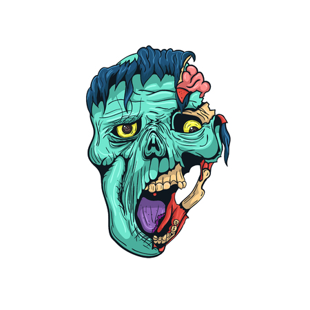 Hand Drawn Zombie Face with Brain. Vector illustration